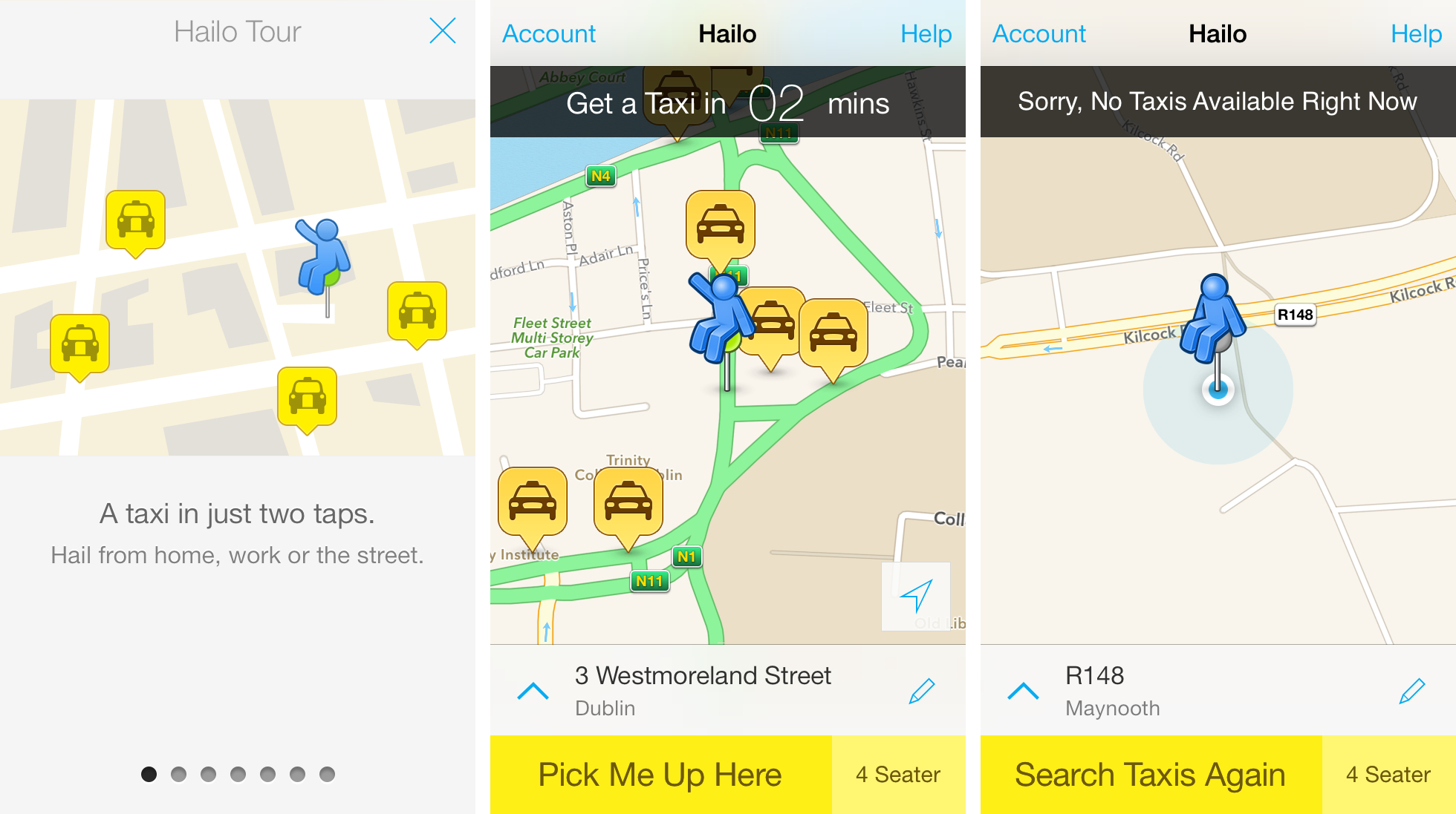 Hailo availability in Dublin versus Maynooth